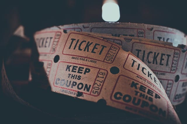 Image of admission tickets for entertainment.
